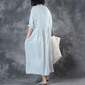Fine Long Linen Dress Loose Fitting Solid Loose Folded Pocket Women Elbow Sleeves White Dress ( Limited Stock)