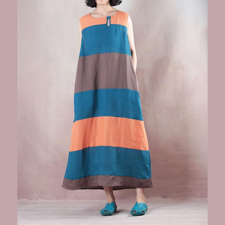 Fine multicolor striped linen maxi dress plus size  Sleeveless baggy dresses maxi dresses