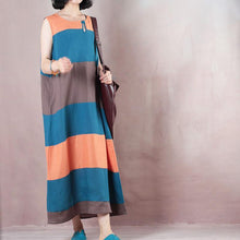 Load image into Gallery viewer, Fine multicolor striped linen maxi dress plus size  Sleeveless baggy dresses maxi dresses