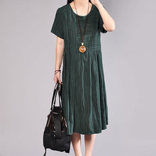 Load image into Gallery viewer, Fine natural cotton dress plus size clothing Women Summer Casual Short Sleeve Dark Green Dress