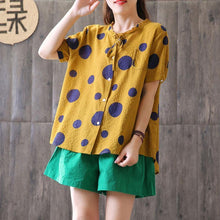Load image into Gallery viewer, Fine natural linen t shirt oversized Summer Short Sleeve Dots High-low Hem Blouse
