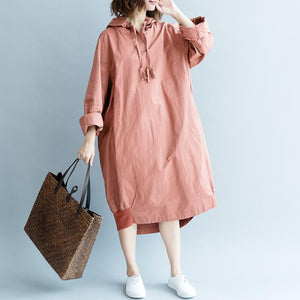 Fine navy autumn cotton dress plus size Hooded pockets traveling dress top quality long sleeve dresses