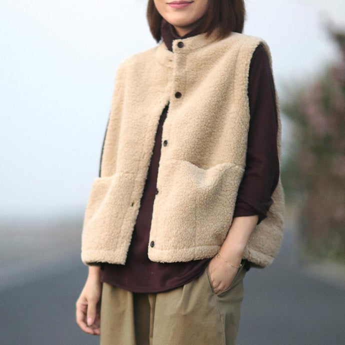 Fine nude wool coat trendy plus size sleeveless pockets coat