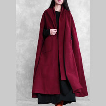 Load image into Gallery viewer, Fine oversize Winter coat burgundy Batwing Sleeve large hem Woolen Coat Women
