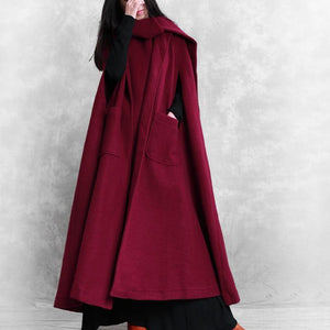 Fine oversize Winter coat burgundy Batwing Sleeve large hem Woolen Coat Women