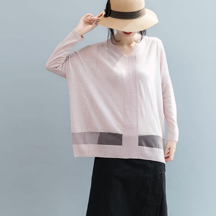 Fine pink  sweater oversize v neck knitted tops casual batwing sleeve t shirt