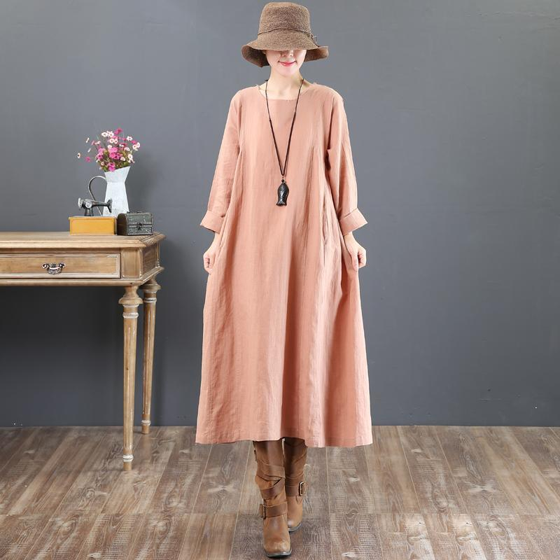 Fine pink long linen dress plus size o neck linen gown Elegant long sleeve gown