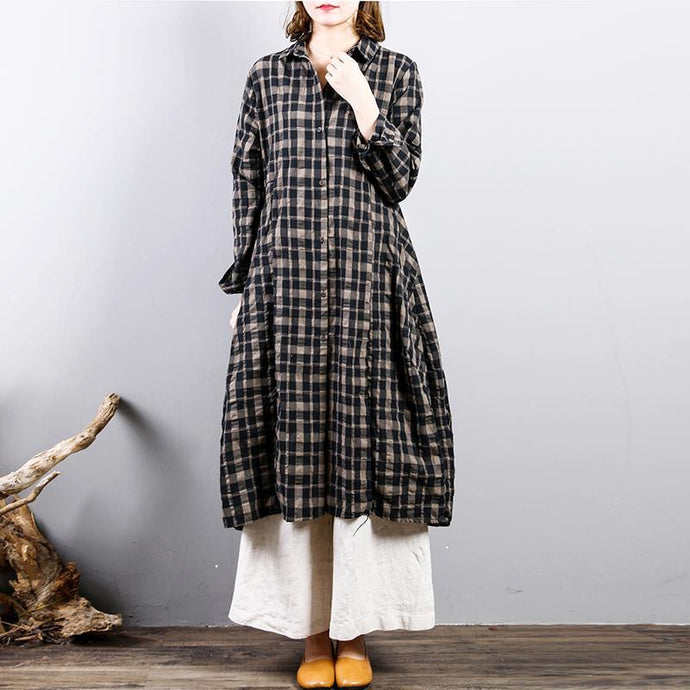 Fine plaid  natural linen dress casual holiday dresses big hem Fine lapel collar natural linen shirt dress