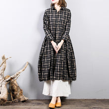 Load image into Gallery viewer, Fine plaid  natural linen dress casual holiday dresses big hem Fine lapel collar natural linen shirt dress