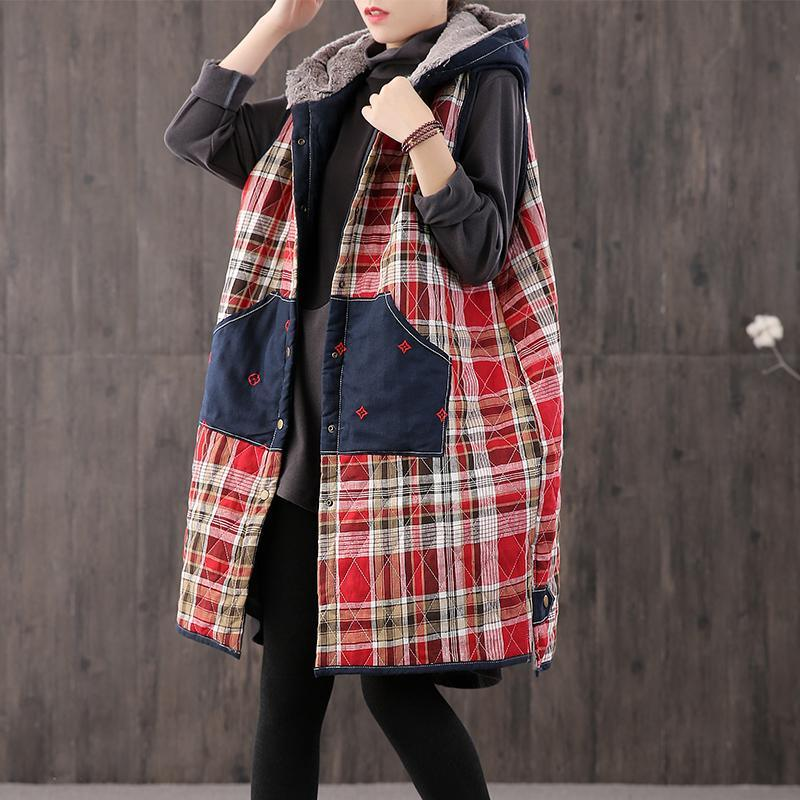 Fine plaid Parkas plus size winter outwear hooded patchwork coat