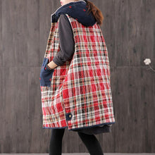 Load image into Gallery viewer, Fine plaid Parkas plus size winter outwear hooded patchwork coat