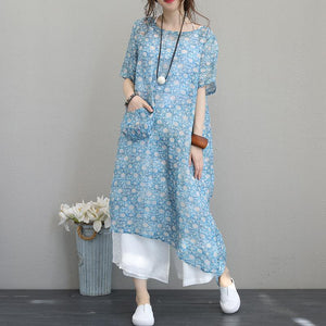 Fine print long linen dresses plus size o neck short sleeve traveling dress Elegant pockets gown
