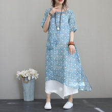 Load image into Gallery viewer, Fine print long linen dresses plus size o neck short sleeve traveling dress Elegant pockets gown