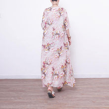 Load image into Gallery viewer, Fine prints long linen dress trendy plus size o neck gown vintage half sleeve linen caftans