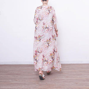 Fine prints long linen dress trendy plus size o neck gown vintage half sleeve linen caftans