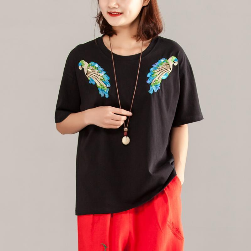 Fine pure cotton blouse Loose fitting Women Short Sleeve Cotton Summer Casual Black Tops