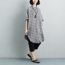 Load image into Gallery viewer, Fine pure linen tops oversized Summer Short Sleeve Plaid Pockets Casual Long Shirts