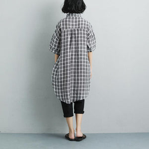 Fine pure linen tops oversized Summer Short Sleeve Plaid Pockets Casual Long Shirts