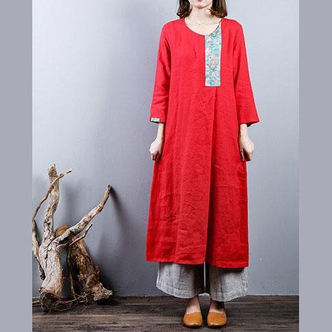 Fine red 2018 fall dress plus size linen cotton dress o neck Elegant patchwork linen clothing dress