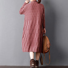 Load image into Gallery viewer, Fine red long knit sweaters plus size clothing high neck spring dresses baggy pullover