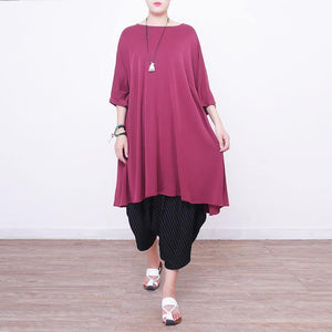 Fine red natural silk dress  plus size silk cotton dress 2018short sleeve o neck silk clothing dresses