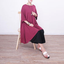 Load image into Gallery viewer, Fine red natural silk dress  plus size silk cotton dress 2018short sleeve o neck silk clothing dresses