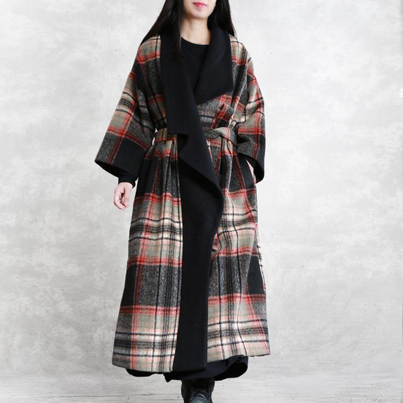 Fine red plaid Woolen Coat Women Loose fitting maxi coat Notched tie waist