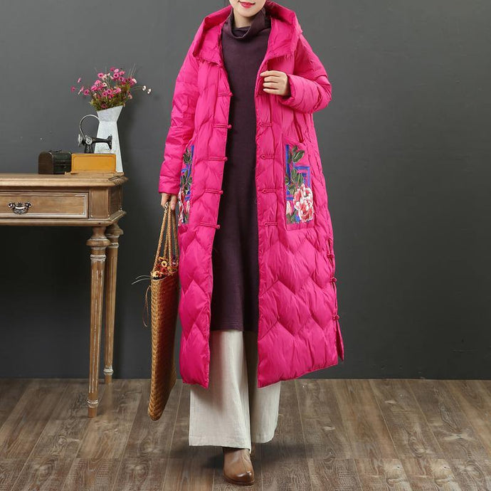Fine rose warm winter coat oversize side open down jacket hooded New overcoat