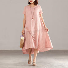 Load image into Gallery viewer, Fine silk linen summer dress stylish Women Pink Short Sleeve Summer Casual Dress