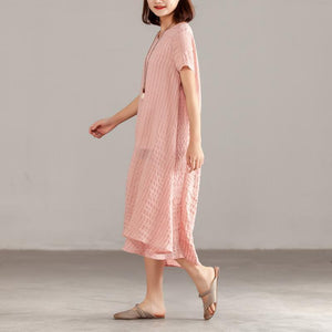 Fine silk linen summer dress stylish Women Pink Short Sleeve Summer Casual Dress