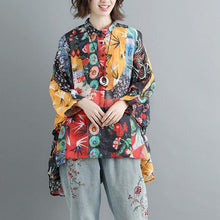 Load image into Gallery viewer, Fine summer linen tops plus size Summer Short Sleeve Floral Polo Neck Casual Blouse