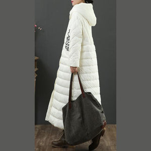 Fine white coats trendy plus size winter jacket embroidery hooded winter outwear