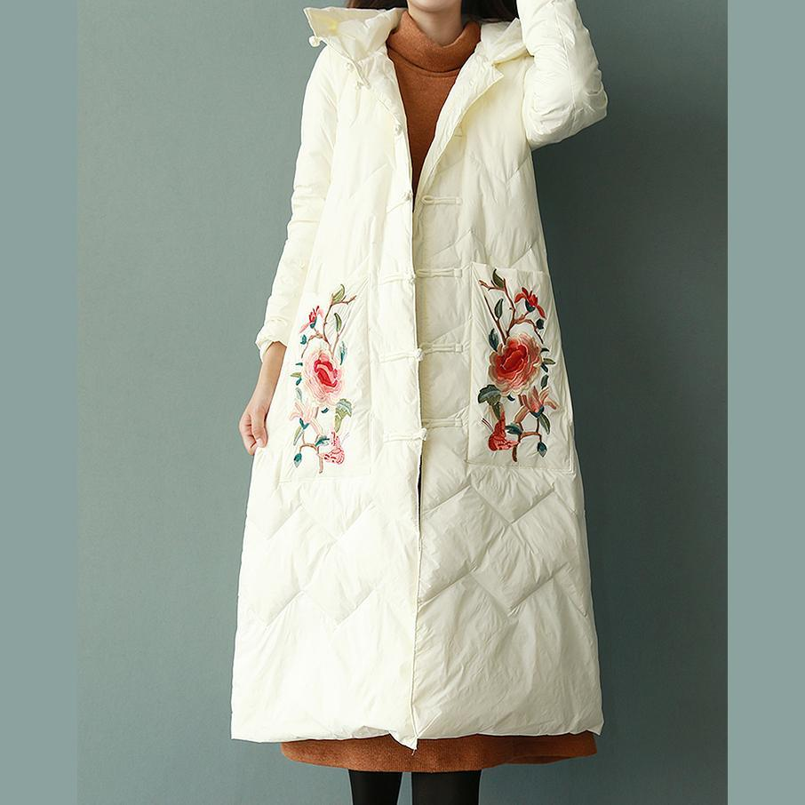 Fine white embroidery duck down coat trendy plus size snow jackets winter outwear Chinese Button hooded