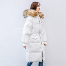 Load image into Gallery viewer, Fine white warm winter coat plus size clothing tie waist womens parka fur collar coats