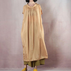 Fine yellow silk maxi dress casual o neck baggy dresses silk gown 2018 short sleeve dress