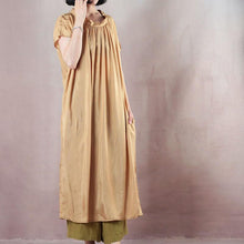 Load image into Gallery viewer, Fine yellow silk maxi dress casual o neck baggy dresses silk gown 2018 short sleeve dress