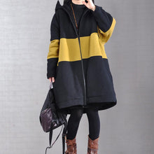 Load image into Gallery viewer, Fine yellow winter parkas plus size warm winter coat hooded patchwork overcoat