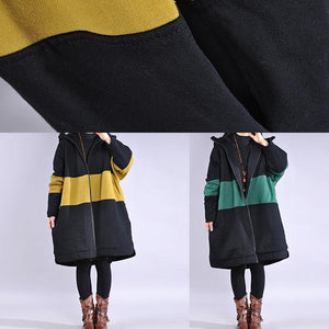 Fine yellow winter parkas plus size warm winter coat hooded patchwork overcoat