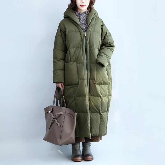 Fine army green down overcoat plussize hooded Parkas Casual zippered