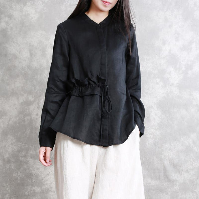 Fine black natural linen t shirt oversized casual cardigans women drawstring stand collar cotton clothing