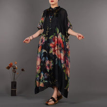 Load image into Gallery viewer, Fine black prints natural silk dress trendy plus size stand collar silk clothing dresses casual Chinese Button caftans