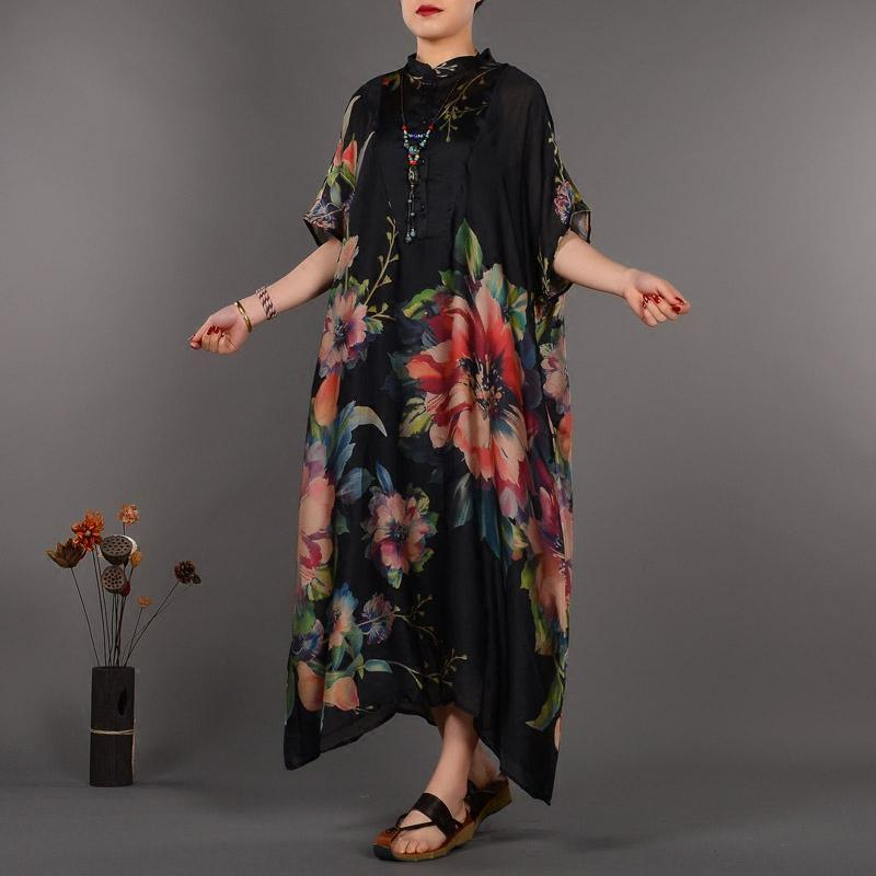 Fine black prints natural silk dress trendy plus size stand collar silk clothing dresses casual Chinese Button caftans