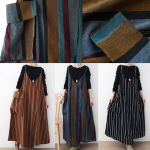Fine black striped linen dresses trendy plus size big pockets cotton dresses casual sleeveless traveling clothing