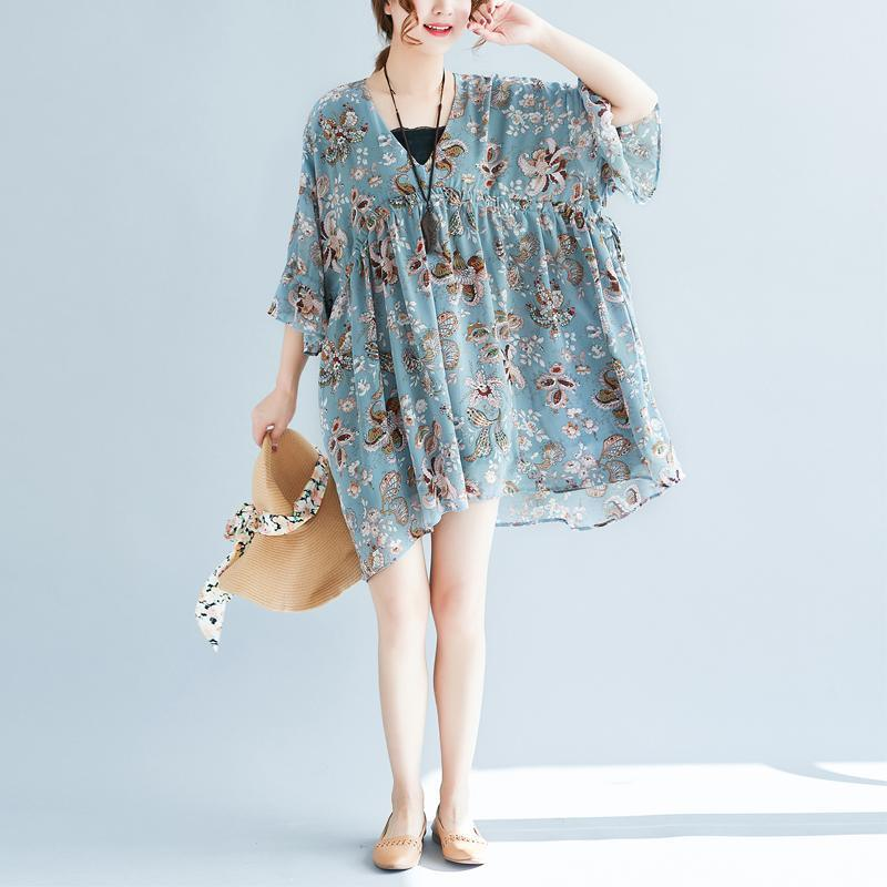 Fine blue floral pure chiffon dresses trendy plus size chiffon cotton dress Fine v neck high waist cotton dresses