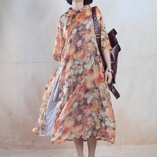 Fine chiffon sundress floral long maxi dress oversize dress yellow