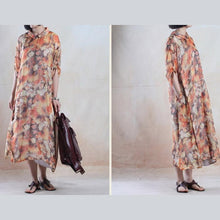 Load image into Gallery viewer, Fine chiffon sundress floral long maxi dress oversize dress yellow