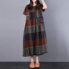 Load image into Gallery viewer, Fine cotton dress plus size Cotton Summer Short Sleeve Plaid Splicing Dress