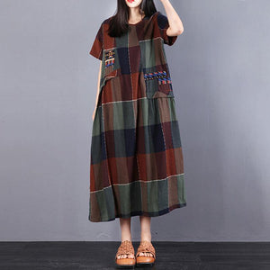 Fine cotton dress plus size Cotton Summer Short Sleeve Plaid Splicing Dress