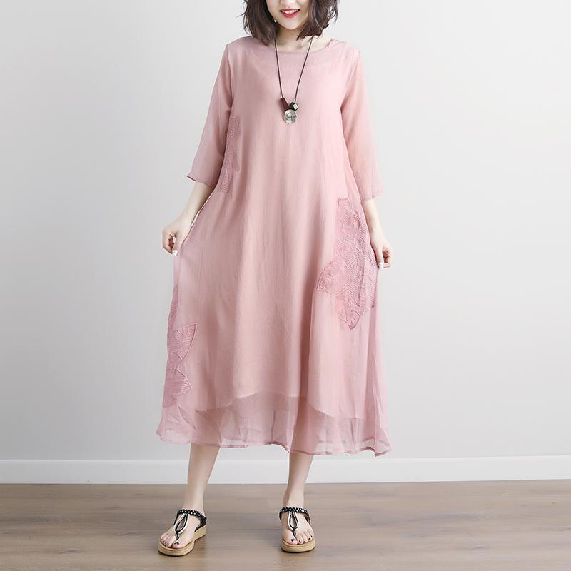 Fine cotton maxi dress plus size Pink Summer Fake Two-piece Pockets Retro Dress
