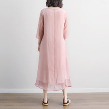 Load image into Gallery viewer, Fine cotton maxi dress plus size Pink Summer Fake Two-piece Pockets Retro Dress